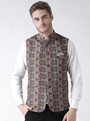 Multicolor Printed Polyester Nehru Jacket
