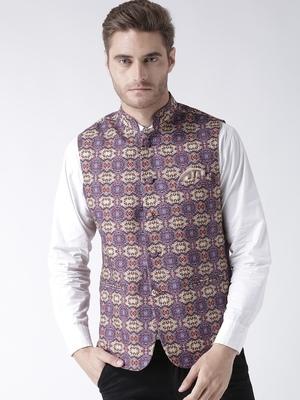 Purple Printed Polyester Nehru Jacket