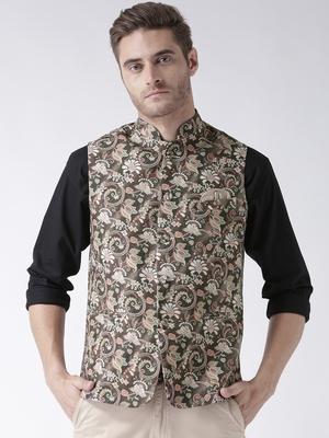Brown Printed Polyester Nehru Jacket