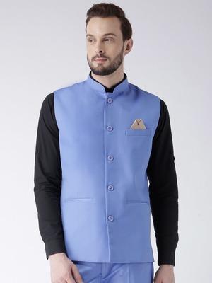 Blue Plain Polyester Nehru Jacket