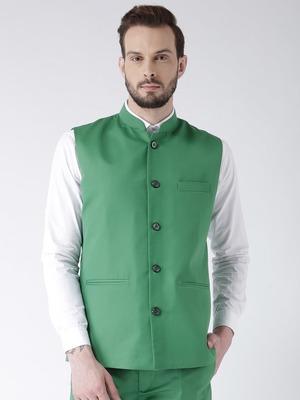 Green Plain Polyester Nehru Jacket