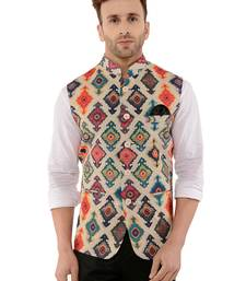 Multicolor Printed Polyester Nehru Jacket