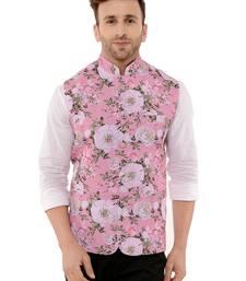 Pink Printed Polyester Nehru Jacket