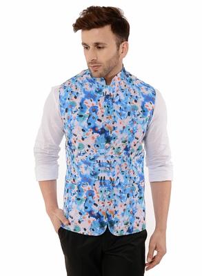 Blue Printed Polyester Nehru Jacket