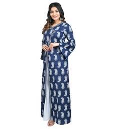 Navy-blue printed cotton kurti