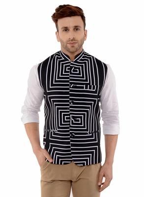 Black Printed Polyester Nehru Jacket