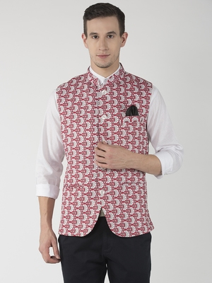Red Printed Polyester Nehru Jacket