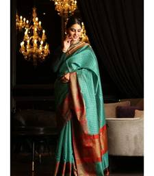 Green Shade Cotton Banarasi Handwoven Saree