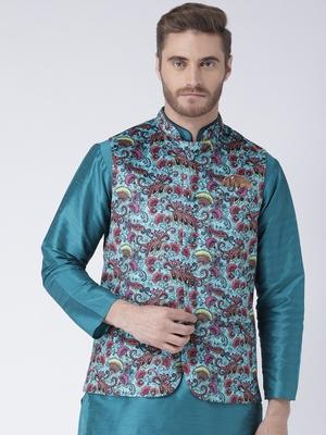 Turquoise Printed Polyester Nehru Jacket