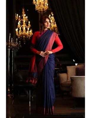Blue Shade Khadi Cotton Handwoven Saree