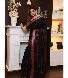 Black Handwoven Linen Saree