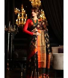 Black Maheshwari Cotton Banarasi Handwoven Saree