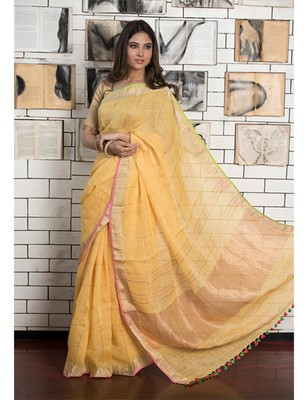 Yellow Handwoven Linen Saree