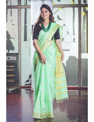 Spring Green Handwoven Linen Saree with Gold Tone Design