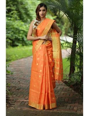 Orange Handwoven Linen Saree with Golden Zari Border