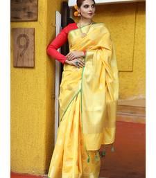 Yellow Shade Banarasi Katan Silk Handwoven Saree