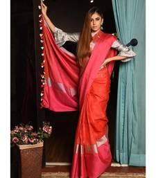 Double Shaded Handwoven Linen Saree with Zari Border