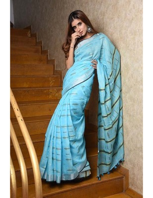Blue Handwoven Linen Saree with Blouse