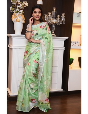 Green Handwoven Printed Linen Saree with Blouse