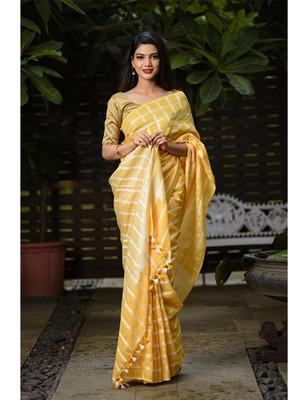 Yellow Shade Handwoven Linen Saree