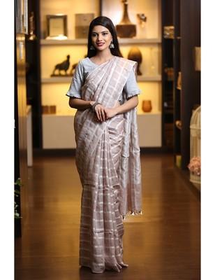 Light Brown Shade Handwoven Linen Saree