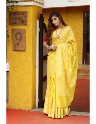 Yellow Shade Cotton Banarasi Handwoven Saree