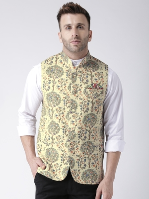 Beige Printed Polyester Nehru Jacket