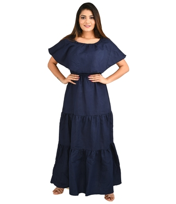Navy-blue plain cotton kurti