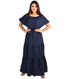 Navy-blue plain cotton kurti