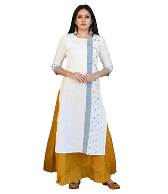 Off-white printed cotton kurti