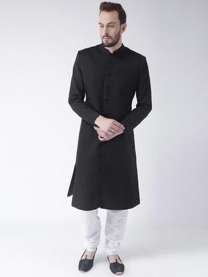Black Plain Polyester Sherwani