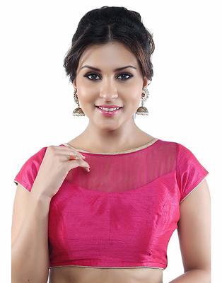 Designer Pink Plain Silk Blouse