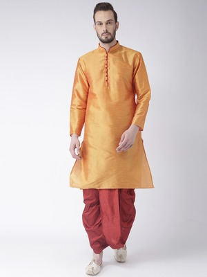 Yellow Plain Dupion Silk Dhoti Kurta