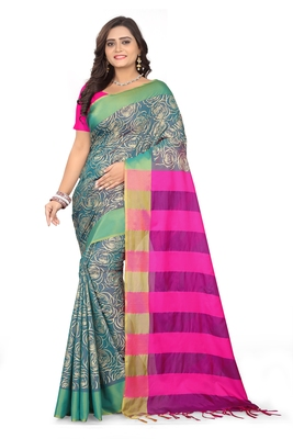 Turquoise Printed Cotton Silk Saree With Blouse