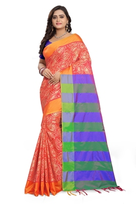 Orange Printed Cotton Silk Saree With Blouse