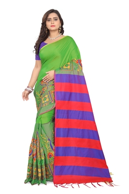 Light green embroidered cotton silk saree with blouse