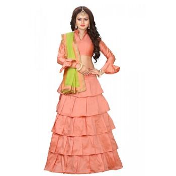 b72b02360a Peach plain silk semi stitched ruffle lehenga with dupatta - Trishulom  Cloth's Online - 2853109