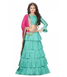 7f55f6be38 Dark-sky-blue plain silk semi stitched ruffle lehenga with dupatta Shop  Online