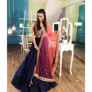 239617619f Dark-blue plain silk semi stitched lehenga with dupatta - Trishulom Cloth's  Online - 2853113