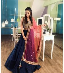 Dark-blue plain silk semi stitched lehenga with dupatta