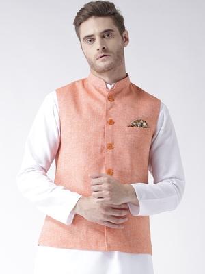 Orange Plain Linen Nehru Jacket
