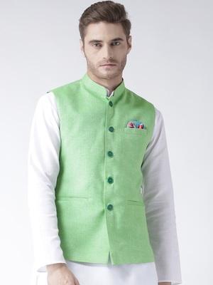 Green Plain Linen Nehru Jacket