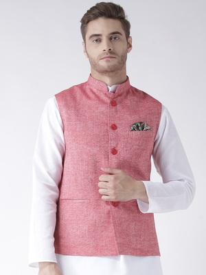 Red Plain Linen Nehru Jacket