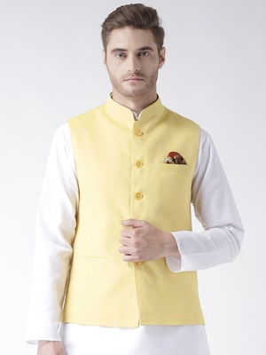 Yellow Plain Linen Nehru Jacket