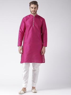Pink Plain Polyester Kurta Pajama