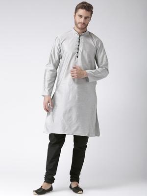 Grey Plain Polyester Kurta Pajama