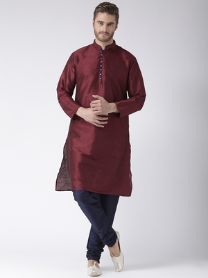 Maroon Plain Polyester Kurta Pajama