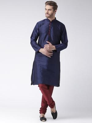 Blue Plain Polyester Kurta Pajama