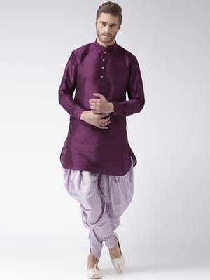 Purple plain dupion kurta pajama
