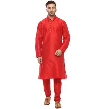 Red Plain Silk Blend Kurta Pajama